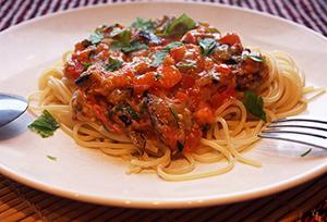Спагетти с баклажаном
