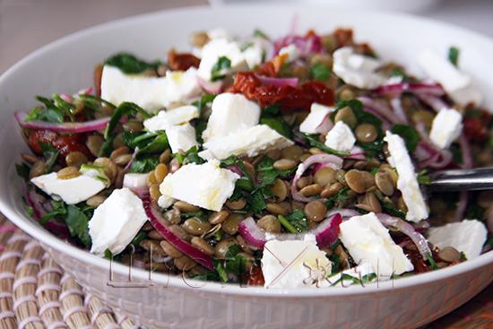 салат с чечевицей, рецепт