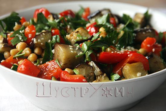 Теплый салат с нутом, рецепт