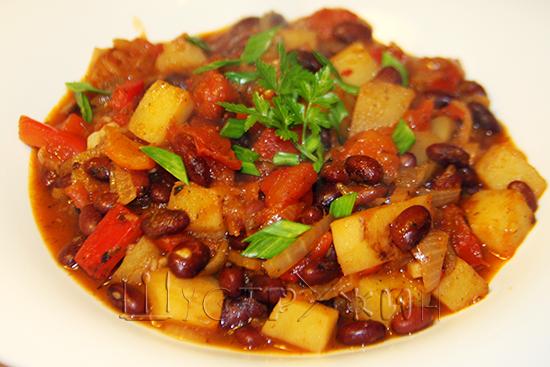 рагу с фасолью и овощами, рецепт