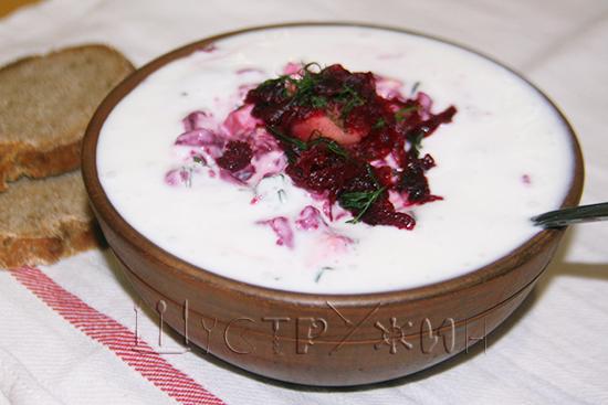 Белорусский холодник из свеклы на кефире, рецепт