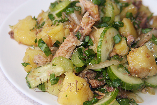Салат с тунцом и огурцом, как приготовить. Рецепт с фото.